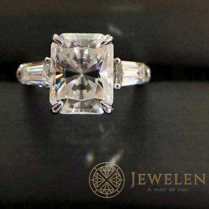 Radiant Moissanite 3Stone 925 Sterling Silver Ring